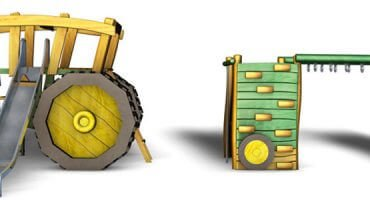 3D-Traktor-mit-Hänger